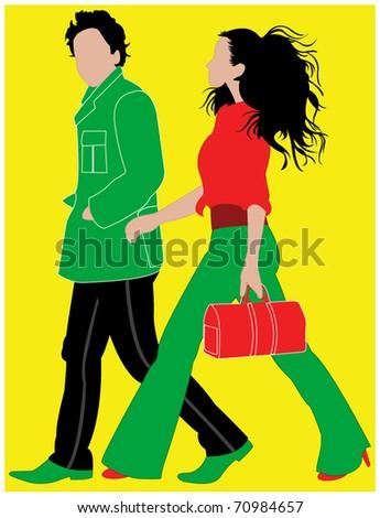 Walking people - stock vector