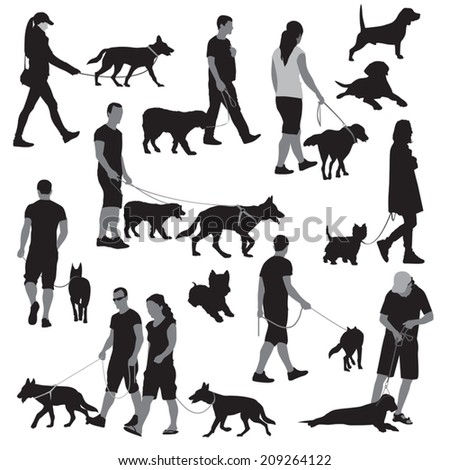 Walking people with dogs. Vector illustration