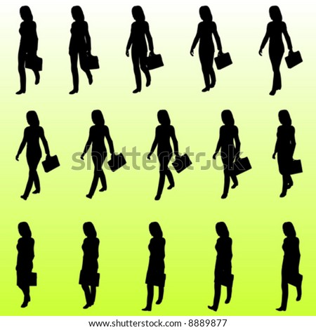 Walking sequence of a business woman with briefcase -vector silhouettes - stock vector