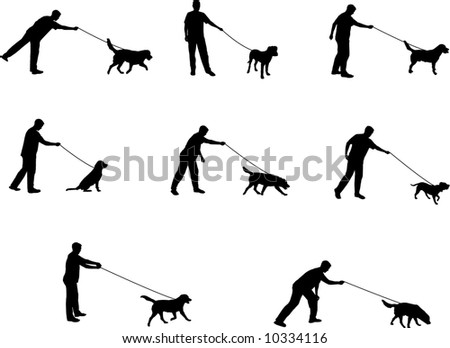walking the dog silhouettes - stock vector