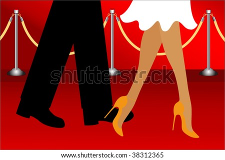 walking the red carpet - stock vector