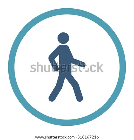 Walking vector icon. This rounded flat symbol is drawn with cyan and blue colors on a white background. - stock vector