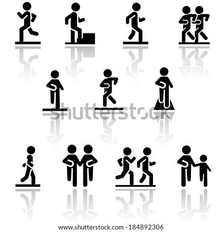 Walking vector icons set . EPS10. - stock vector
