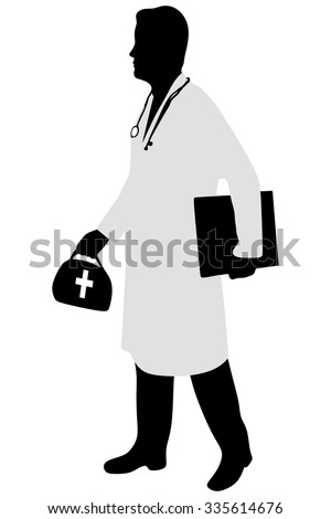 Walking young male doctor - stock vector