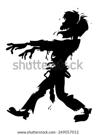 walking zombie silhouette - stock vector