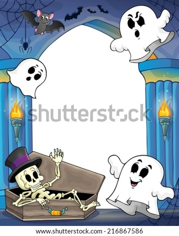 Wall alcove with Halloween theme 2 - eps10 vector illustration. - stock vector