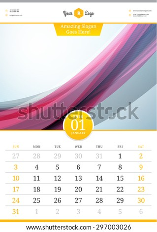 Wall Calendar 2016. January. Vector Template with Abstract Background. Week Starts Sunday - stock vector