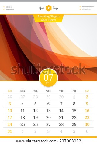 Wall Calendar 2016. July. Vector Template with Abstract Background. Week Starts Sunday - stock vector