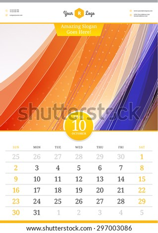 Wall Calendar 2016. October.  Vector Template with Abstract Background. Week Starts Sunday - stock vector