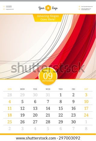 Wall Calendar 2016. September. Vector Template with Abstract Background. Week Starts Sunday - stock vector
