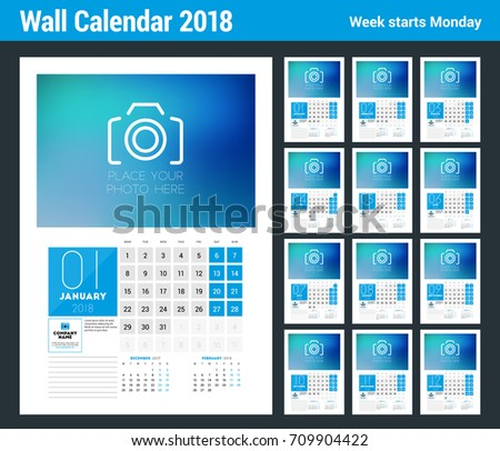 Wall Calendar Template 2018 Year Vector Stock Vector Hd Royalty