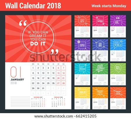 Wall Calendar Template 2018 Year Vector Stock Vector Hd Royalty