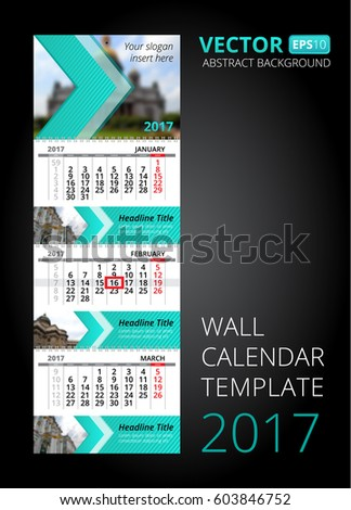 Wall Calendar Trio Vector Template Blur Stock Vector 603846752