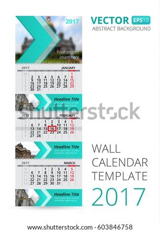 Wall Calendar Trio Vector Template Blur Stock Photo Photo Vector
