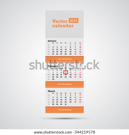 Wall Calendar Vector Template Vertical Calendar Stock Vector 2018