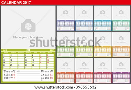 Wall Calendar 2017. Vector Template with Place for Photo. Field notes. Week Starts Monday. Seasons of different colors.