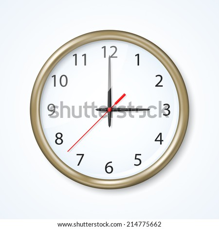 Wall clock on the neutral background - stock vector