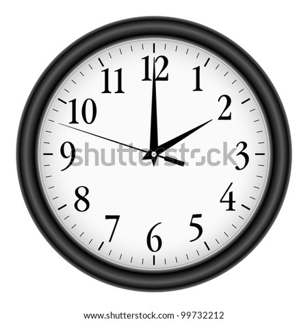 Wall clock on white background. - stock vector