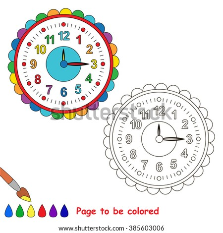 Wall clock to be colored. Coloring book for children. Visual game.