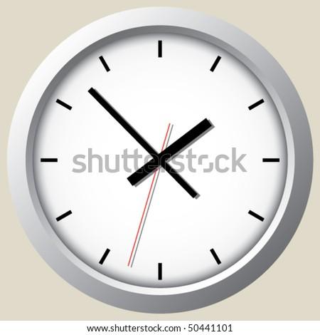 Wall clock. Vector. - stock vector