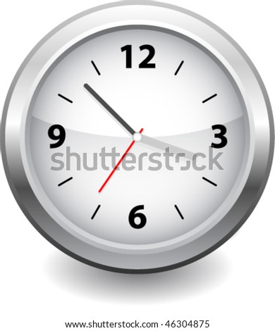 Wall clock vector isolated on white - stock vector
