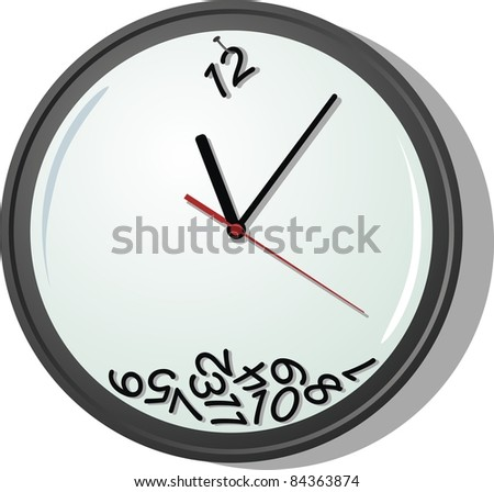 Wall clock with three arrows and showered figures - stock vector