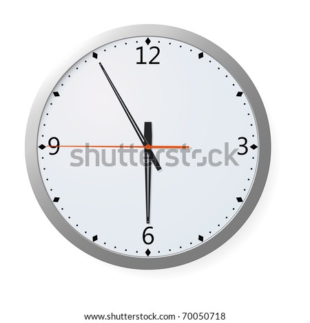 Wall clock with time symbolizing the end of the work day. EPS 8. - stock vector