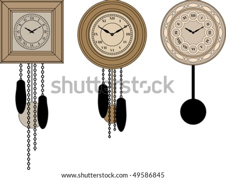 Wall clocks collection - stock vector