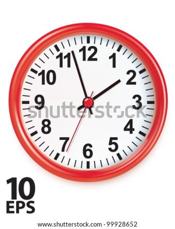Wall clocks isolated on white. Vector illustration - stock vector
