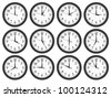 Wall clocks set on white background. - stock vector