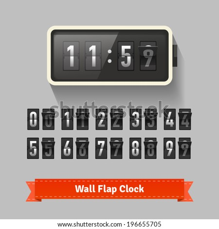Wall Flap Clock Number Counter Template Stock Vector 196655705