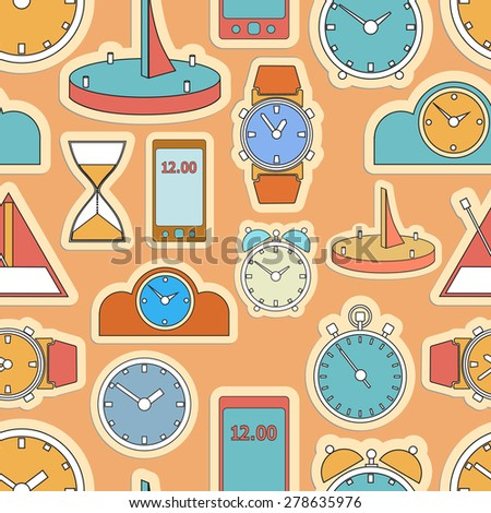 Wall mounted digital clock.  - stock vector