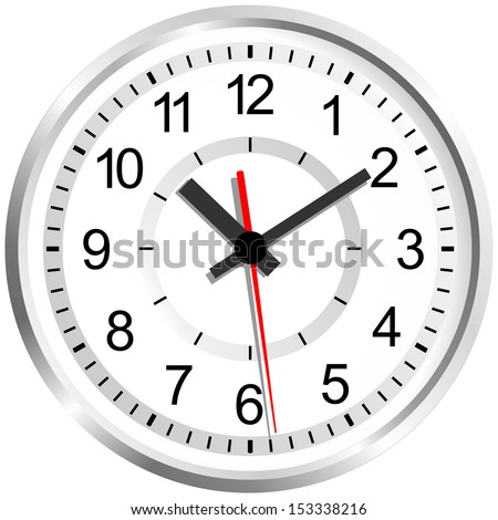 Wall mounted digital clock. Image of clock face. The device displays the hours, minutes, seconds. Save your time. Timing is everything. - stock vector
