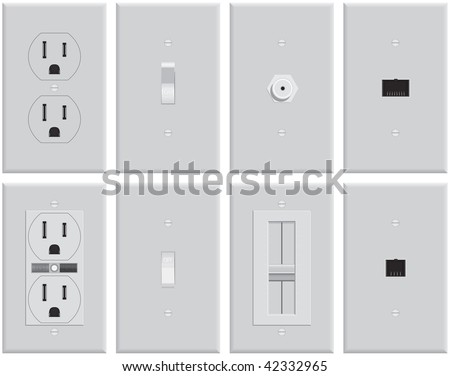 Wall mounted US electrical plates. Standard & GFCI plug, switch, on, off, cable TV, dimmer, Ethernet network, business phone, residential phone. Created in pure gray scale for economical printing. - stock vector