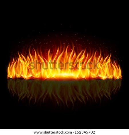 Wall of fire with weak reflection on black background.  - stock vector
