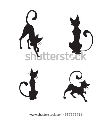 wall stickers funny silhouettes, vector, pattern interior cat - stock vector