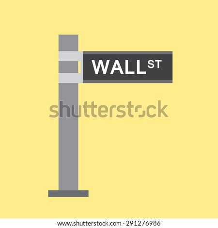 Wall street road sign flat style icon. Finance center of United States. Vector illustration EPS8 - stock vector