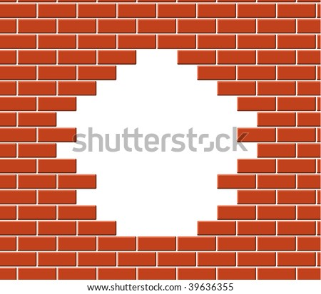 Wall vector break - stock vector