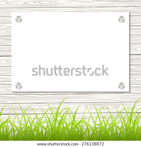 Wall with a piece of paper and green grass. Vector illustration. - stock vector