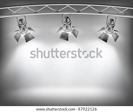 Wall with lights. Vector illustration. - stock vector