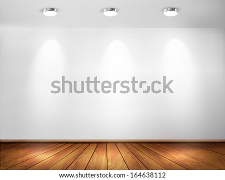 Wall with spotlights and wooden floor. Showroom concept. Vector illustration.  - stock vector