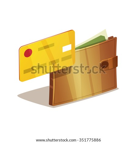 Wallet full of dollars and green money with plastic credit card. Isolated on white background. - stock vector