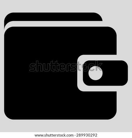 Wallet icon from Business Bi-color Set. This flat vector symbol uses black color, rounded angles, and isolated on a light gray background. - stock vector