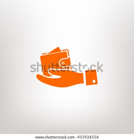 wallet in hand icon. One of set web icons - stock vector