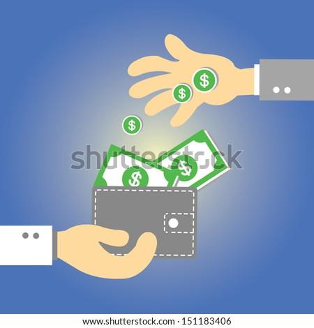 Wallet  money vector cartoon style - stock vector