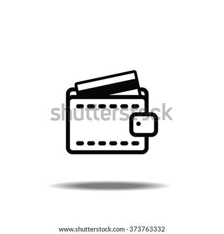 Wallet with Credit Card Thin Line Single Icon - stock vector