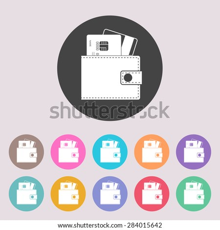 Wallet with credit cards inside icon. - stock vector