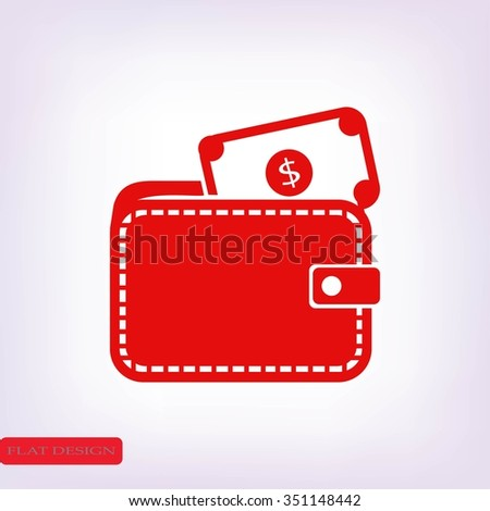 Wallet with dollars icon