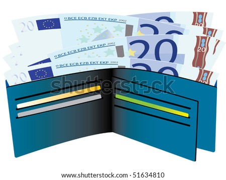 Wallet with euro bills vector