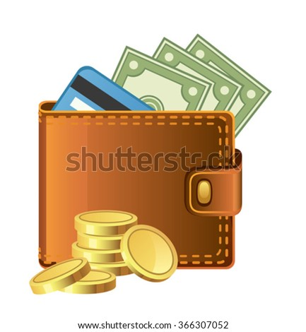 Wallet with money - stock vector